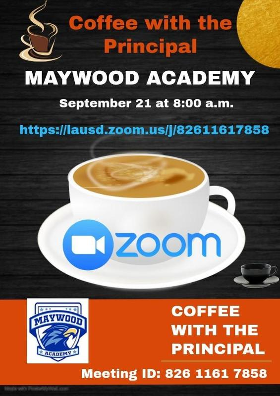 Flyer for Coffee with the Principal Meeting on 9/21/20 at 8 a.m.