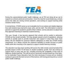 Statement from Texas Education Commissioner Mike Morath