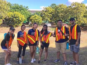 Waipahu NHS Volunteers at Oahu Arbor Day