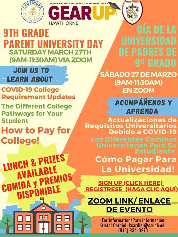 9th Grade Gear-Up Parent University Day/Día de la Universidad para Padres de 9° grado Featured Photo