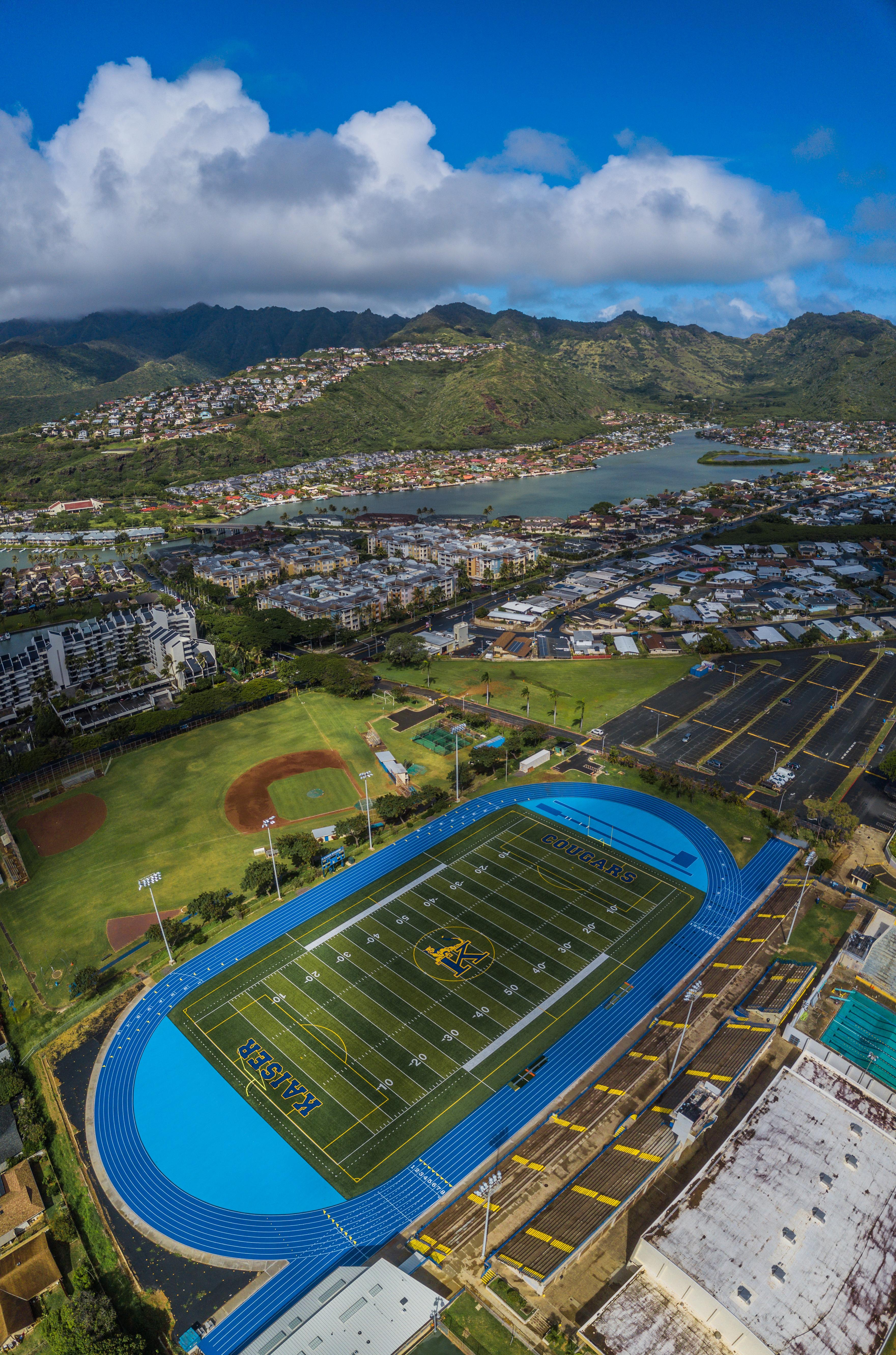Aerial view of Kaiser football field and track