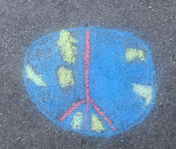 chalk drawing of earth