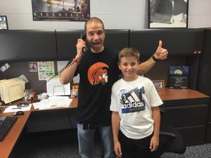 Page Principal Gregg Bruno gives his TK Strong Call of the Day with a student nominated by staff.