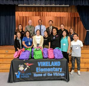 The nonprofit Baby2Baby donated more than 400 backpacks to Vineland Elementary School students in transitional kindergarten through fourth grade.