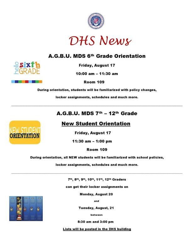 DHS 6th Grade & New Student Orientation / Locker Assignments Featured Photo