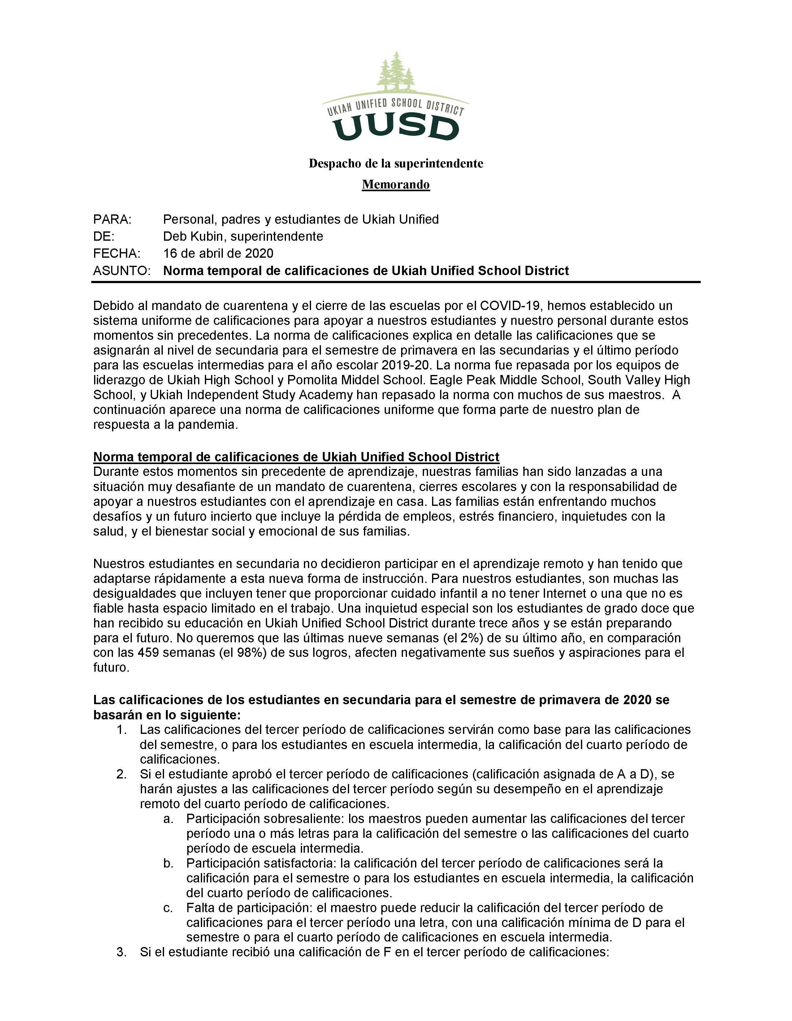 Temporary Grading Policy Spanish