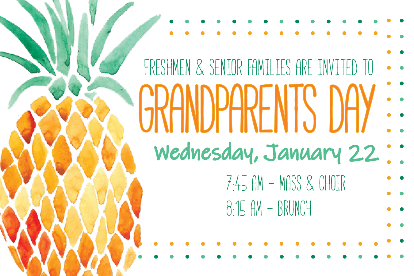 grandparents day invitation with watercolor pineapple