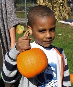 The Lincoln School Pumpkin Patch is a treasured annual tradition organized by the Lincoln PTO with plenty of sunshine and lots of fun activities for the preschoolers and kindergartners on Oct. 12.  Pictured is a happy kindergartner with a pumpkin.