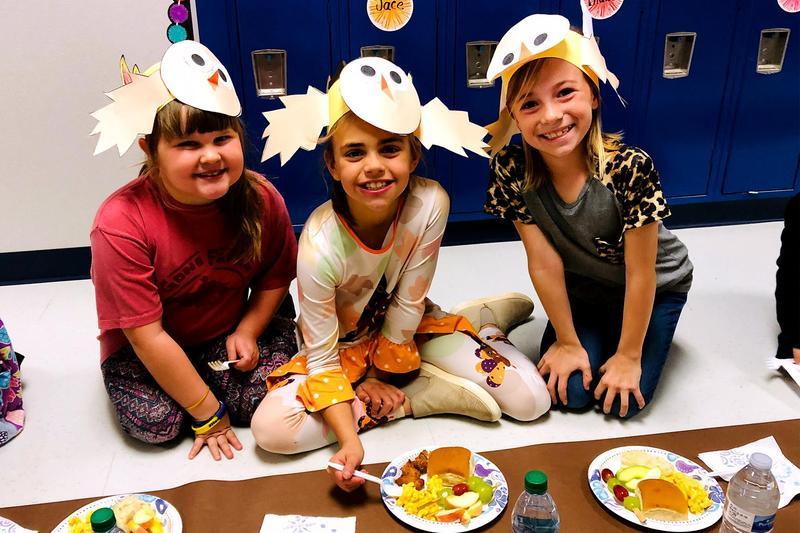 Bennett Second Graders at Thanksgiving Lunch