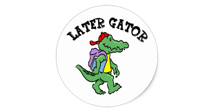 gator with a back pack
