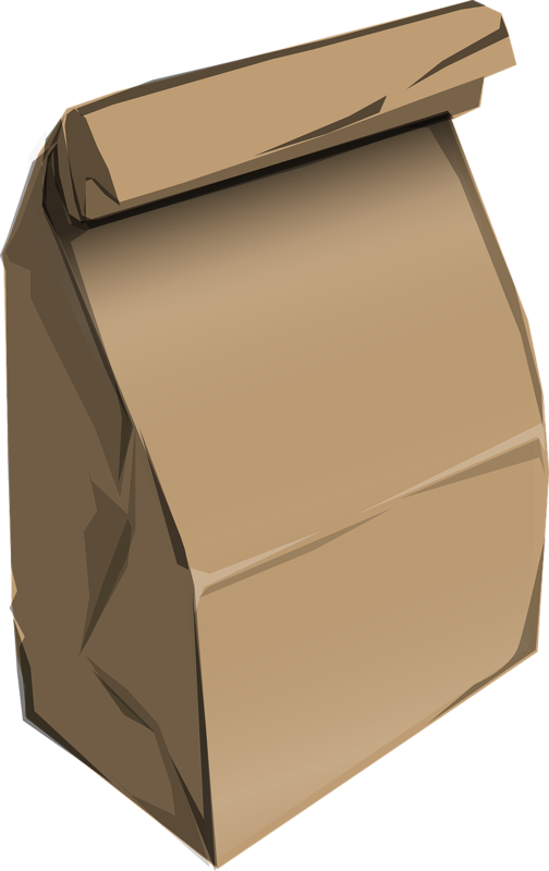 the image is a piece of clipart depicting a brown paper lunchbag