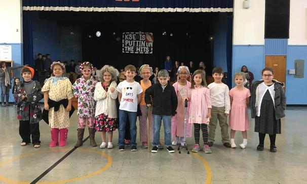 1st graders dressed as 100 years old