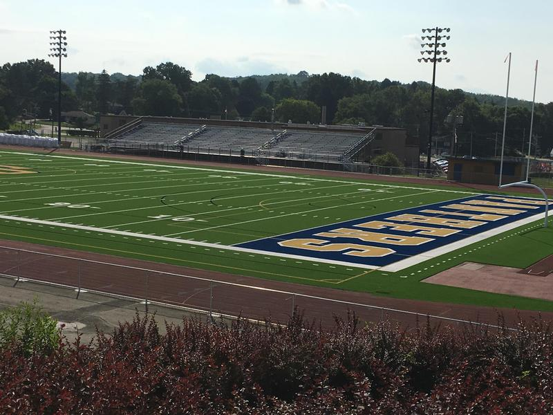 Franklin Regional School District's Panther Stadium received upgrades over the summer including removal of the old artificial turf,