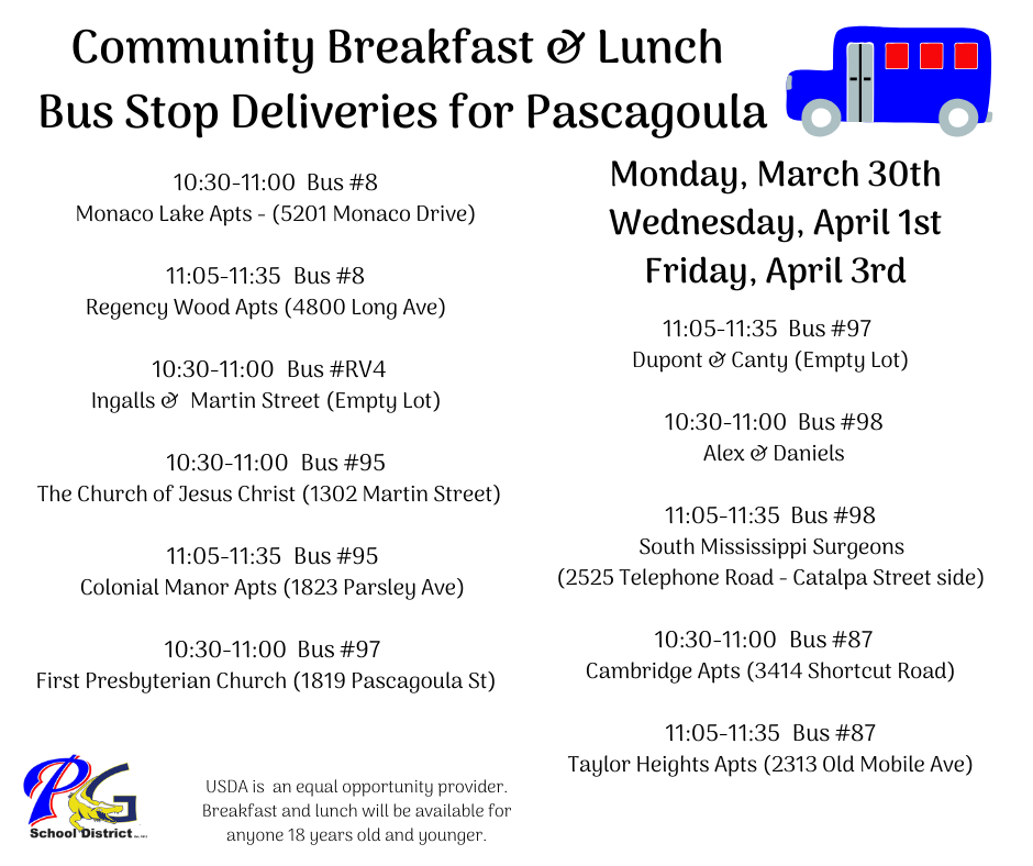 Pascagoula Breakfast and Lunch Feeding times