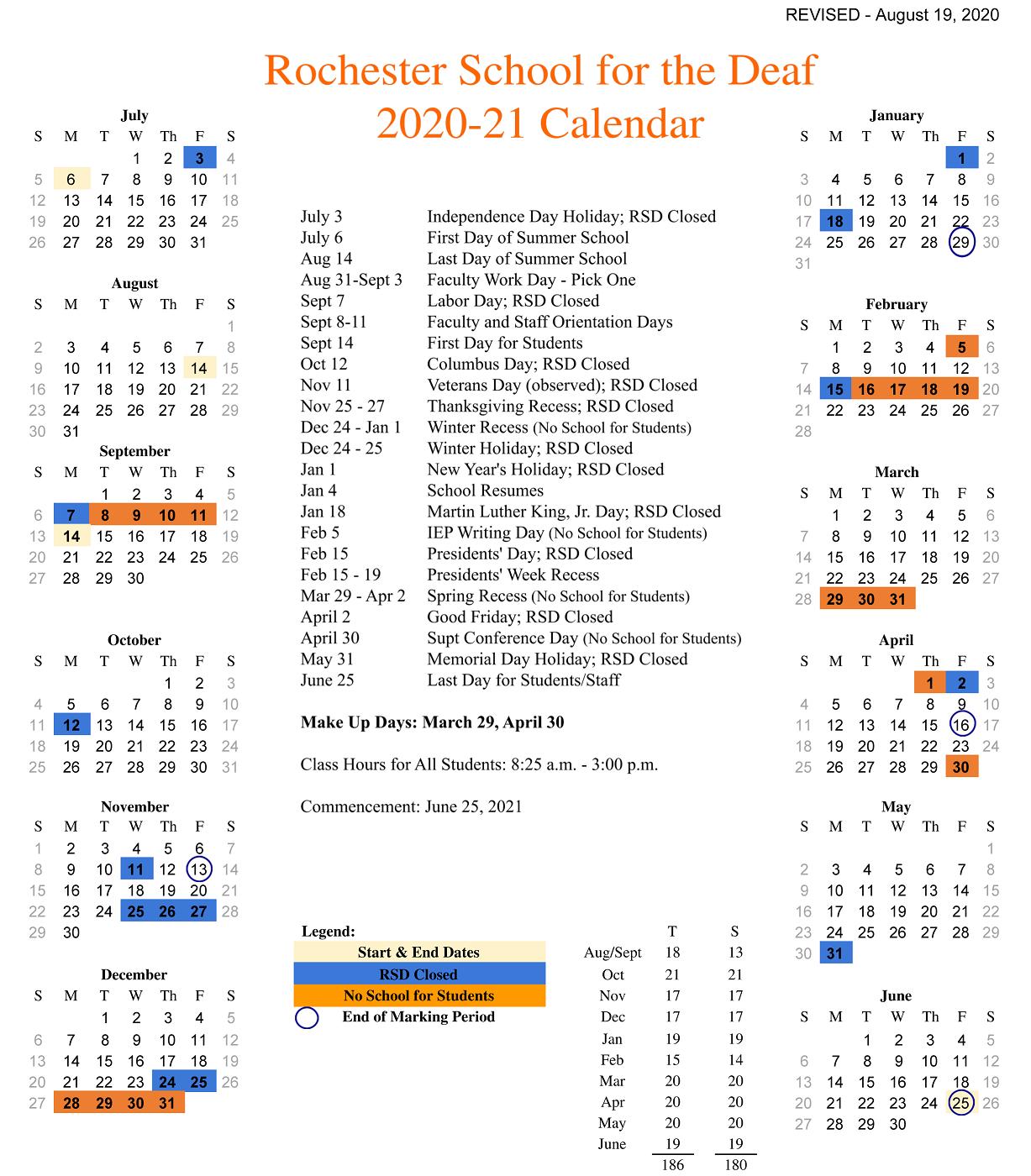 RSD Academic Calendar for the 2020-2021 School Year