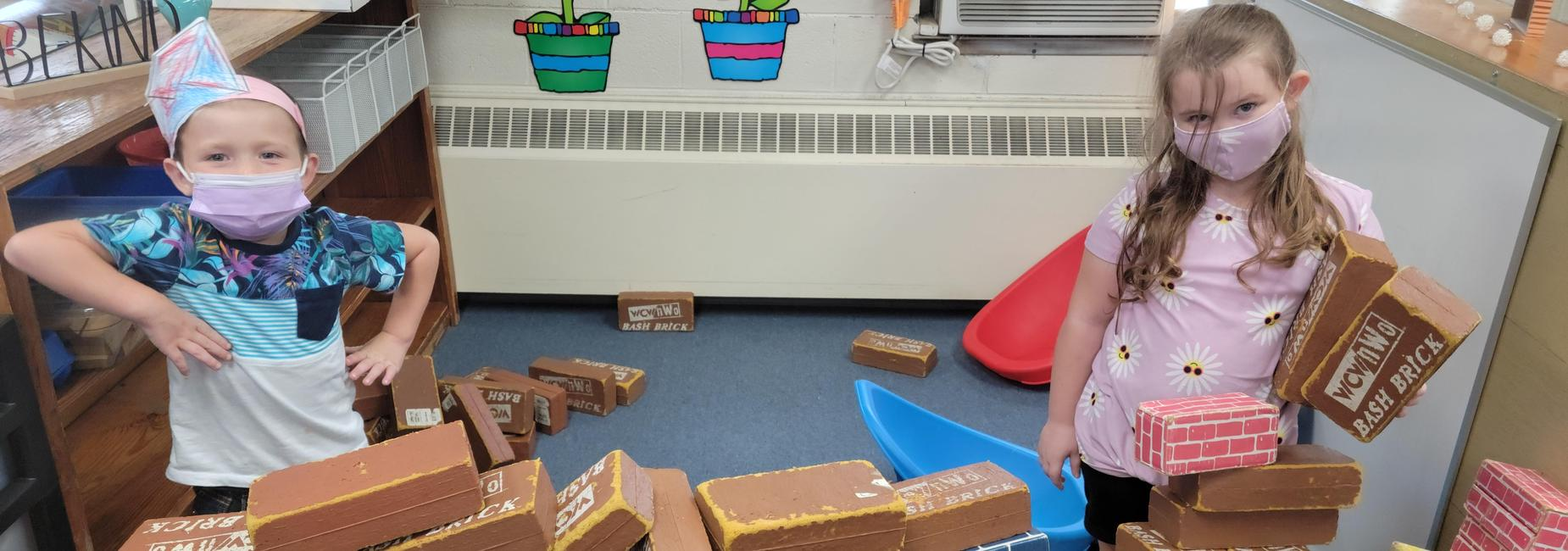 Students building a fort.