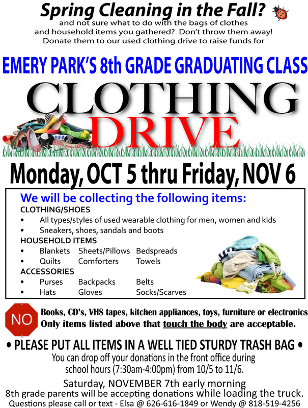 SUPPORT EMERY PARK'S 8TH GR. CLASS WHILE DECLUTTERING YOUR CLOSETS! Featured Photo