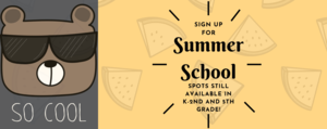The same banner from the front page explaining summer school