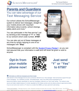 Information on the SMS text opt in feature for school messenger
