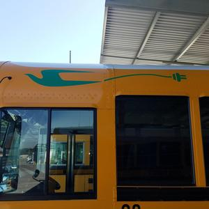 driver side logo view of new electric bus for EUSD