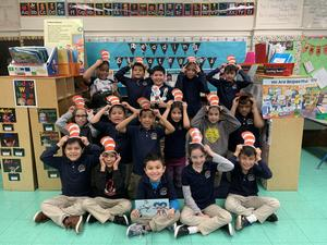 Ms. Carreira's Class wearing Colored Cat Hats