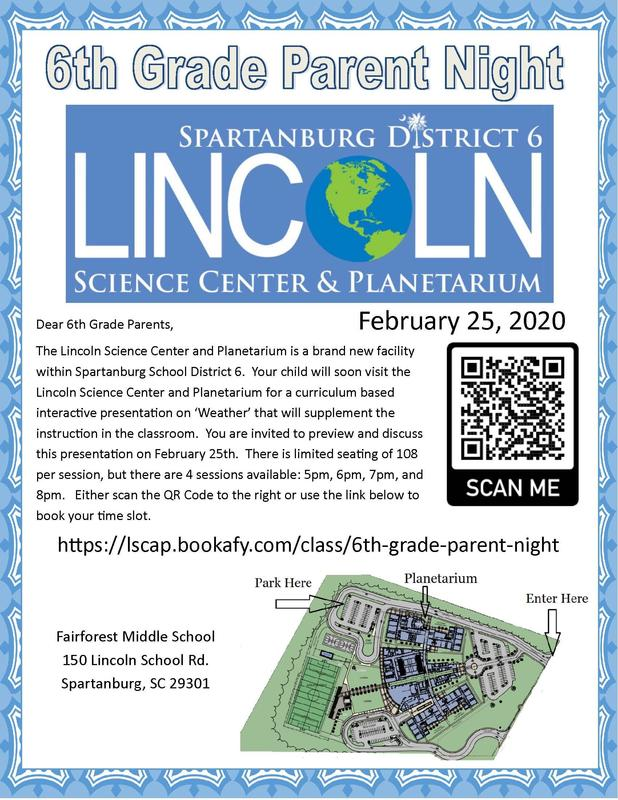 6th Grade Parent Night at Lincoln Science Center and Planetarium