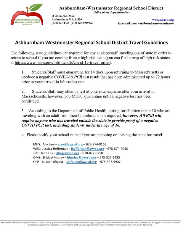 Ashburnham Westminster Regional School District Travel Guidelines Featured Photo