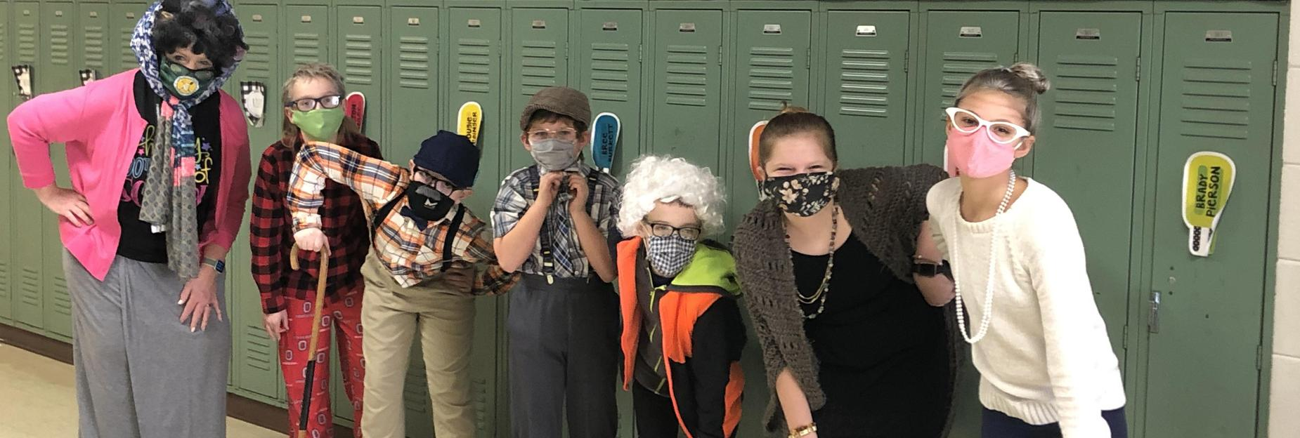 Some really old students celebrating the 100th day of school
