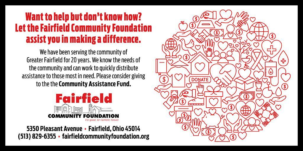 Image of a notie to the community about donating to the Fairfield Community Foundation's Community Assistance Fund, which is helping struggling residents.