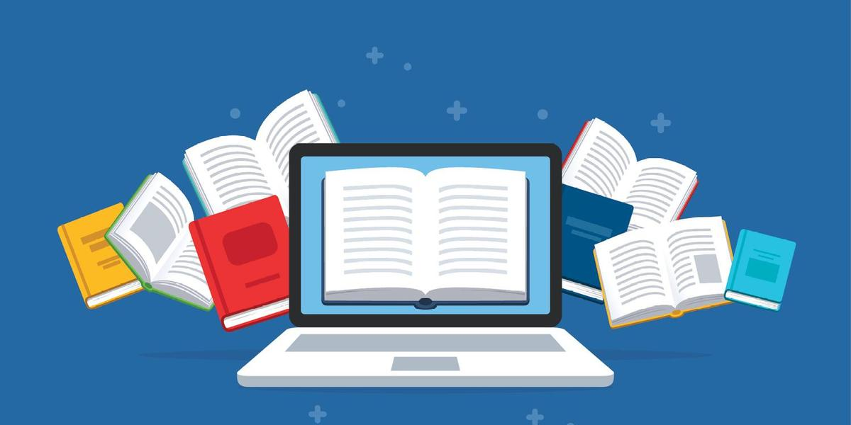 Clip art, a computer and open books against a blue background