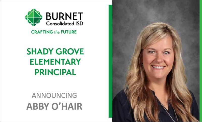Burnet CISD Names New Principal at Shady Grove Elementary Thumbnail Image