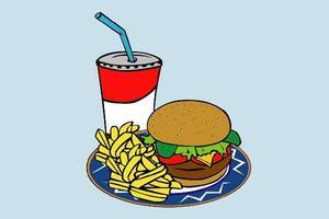 Hamburger, fries and a drink