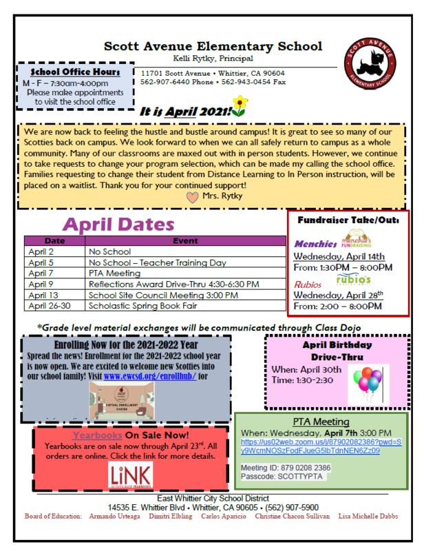 Image of April Newsletter