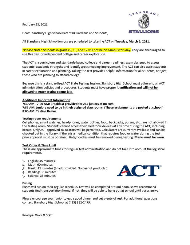 The ACT is coming up - Here is some Important Information Thumbnail Image