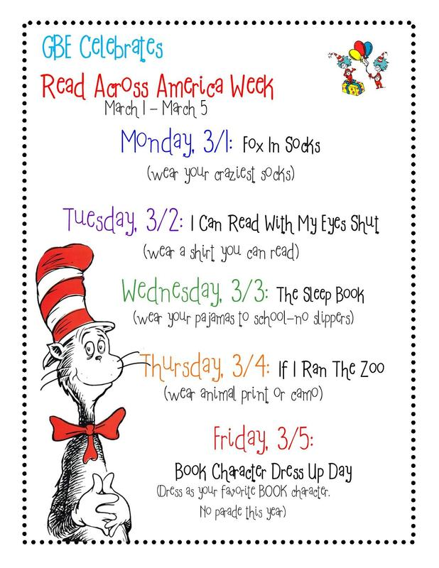 GBE Read Across America Week, March 1st - 5th Featured Photo
