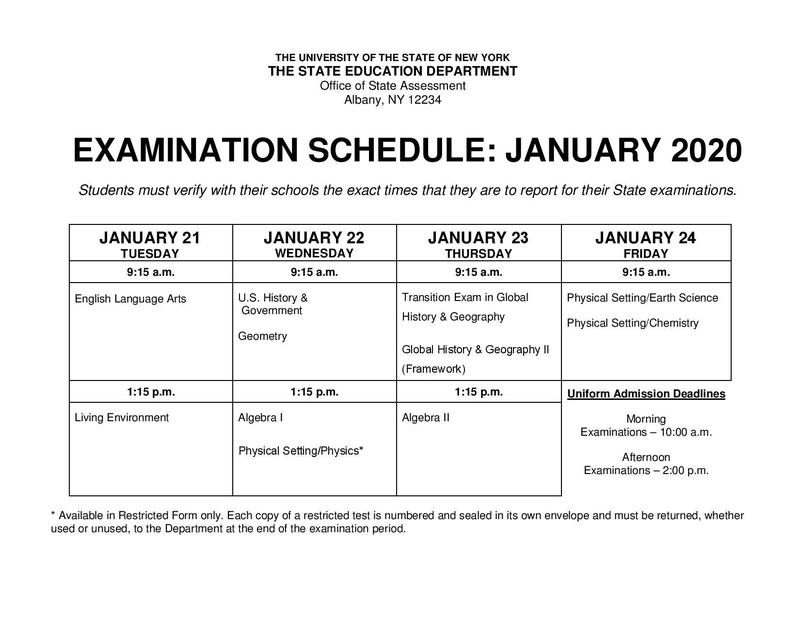 January Regents Schedule Featured Photo