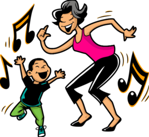 Clip art of boy and mom dancing