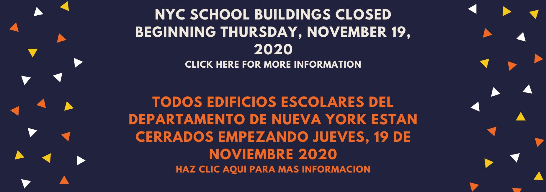 Temporary School Closing Starting November 19, 2020 Bilingual