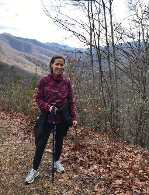 Music teacher Kelly Moore in mountains