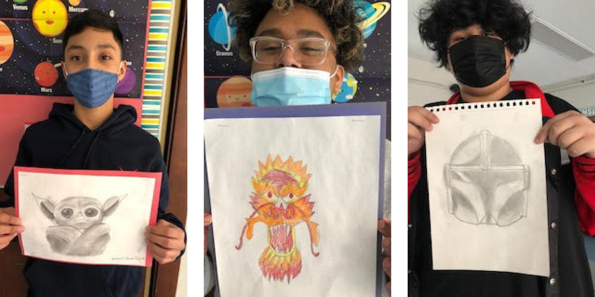 Three tile image, students holding up art projects