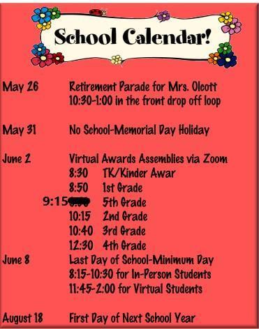 End of School Year Calendar