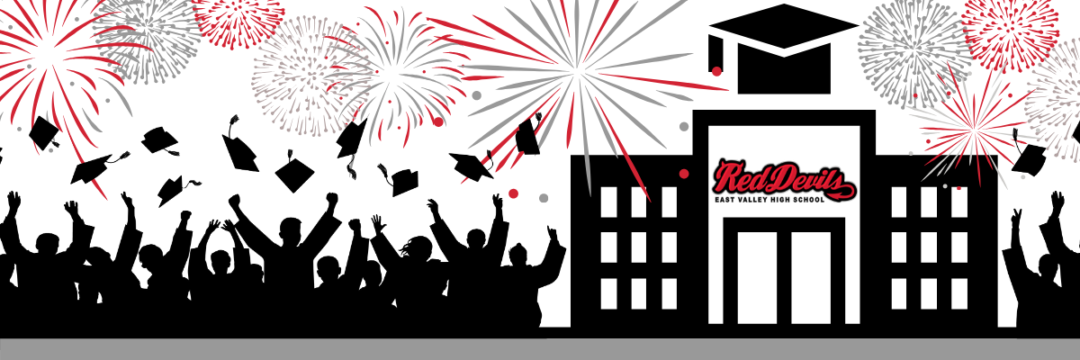 graduate icons with red and black fireworks
