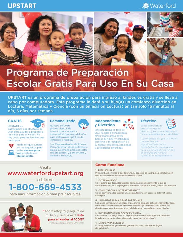 UPSTART information flyer in Spanish - Free preschool program offered by the state of Utah