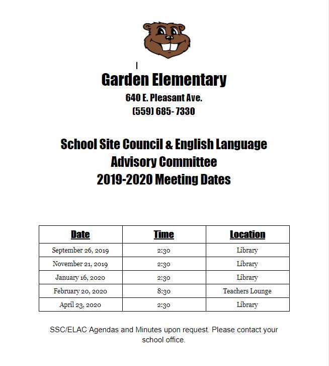 19-20 SSC/ELAC Meeting Dates