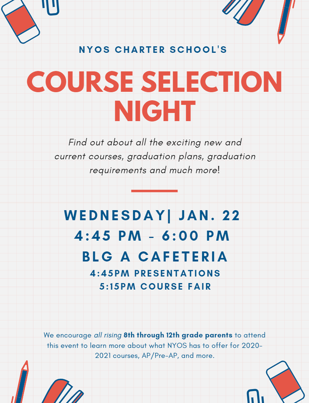Navy blue, orange, and white flyer with illustrations with school supplies for NYOS Charter School's Course Selection Night