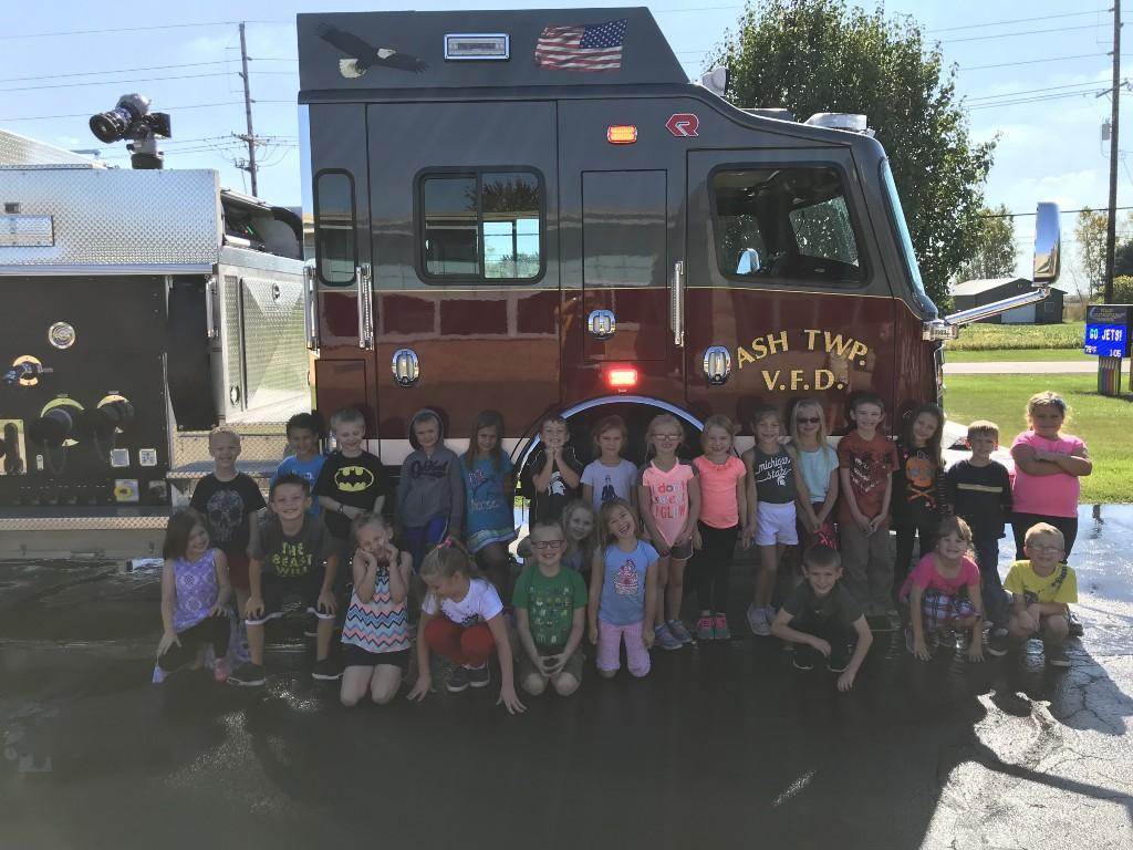 Fire Truck with classroom of students in front