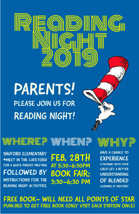 Flyer of events taking place during Family Reading Night.