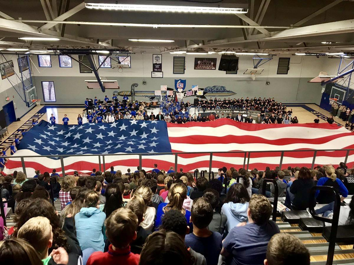 The 7th/8th grade bands perform at the Veteran's day assembly