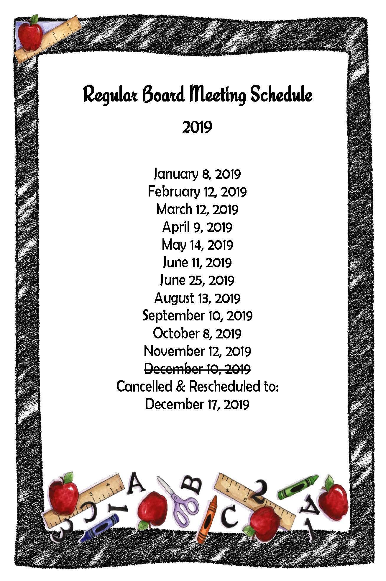 Board Meeting Schedule