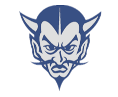 Blue Devils logo, with mustache and goatee